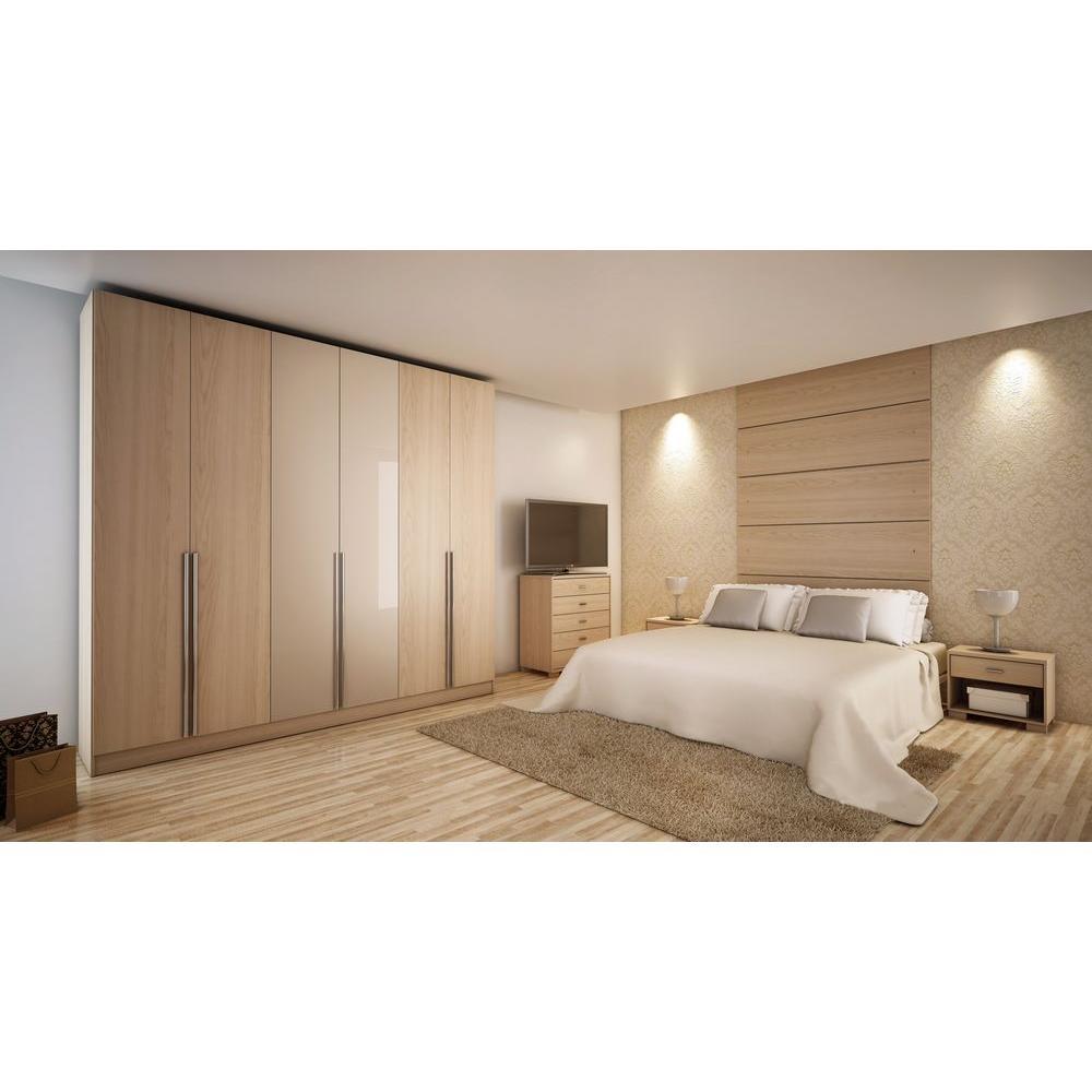 Manhattan Comfort Eldridge Oak Vanilla Pro-Touch/Metallic Nude Armoire 34163
