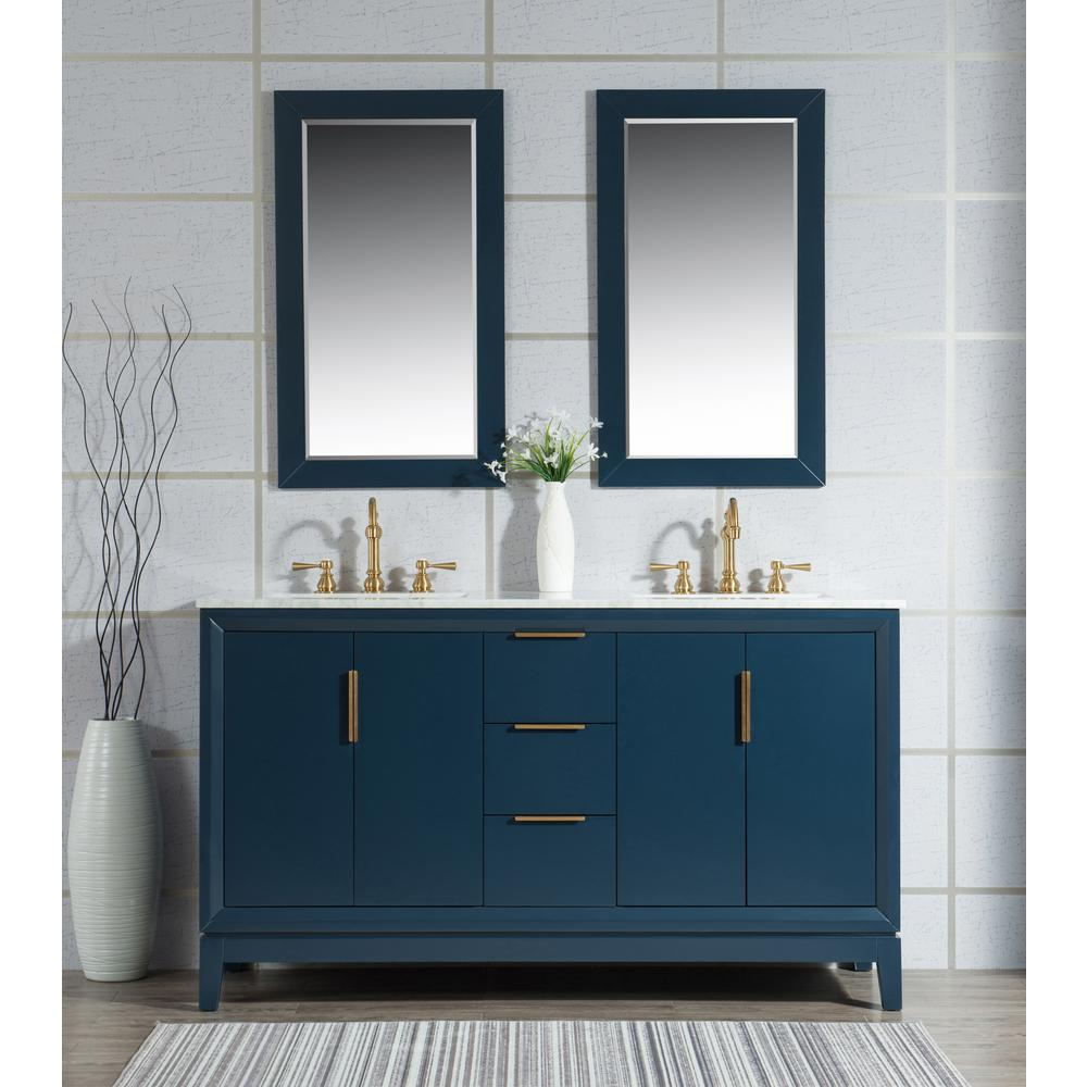 Water Creation Elizabeth 60 in. Monarch Blue With Carrara White Marble Vanity Top With Ceramics White Basins and Faucet