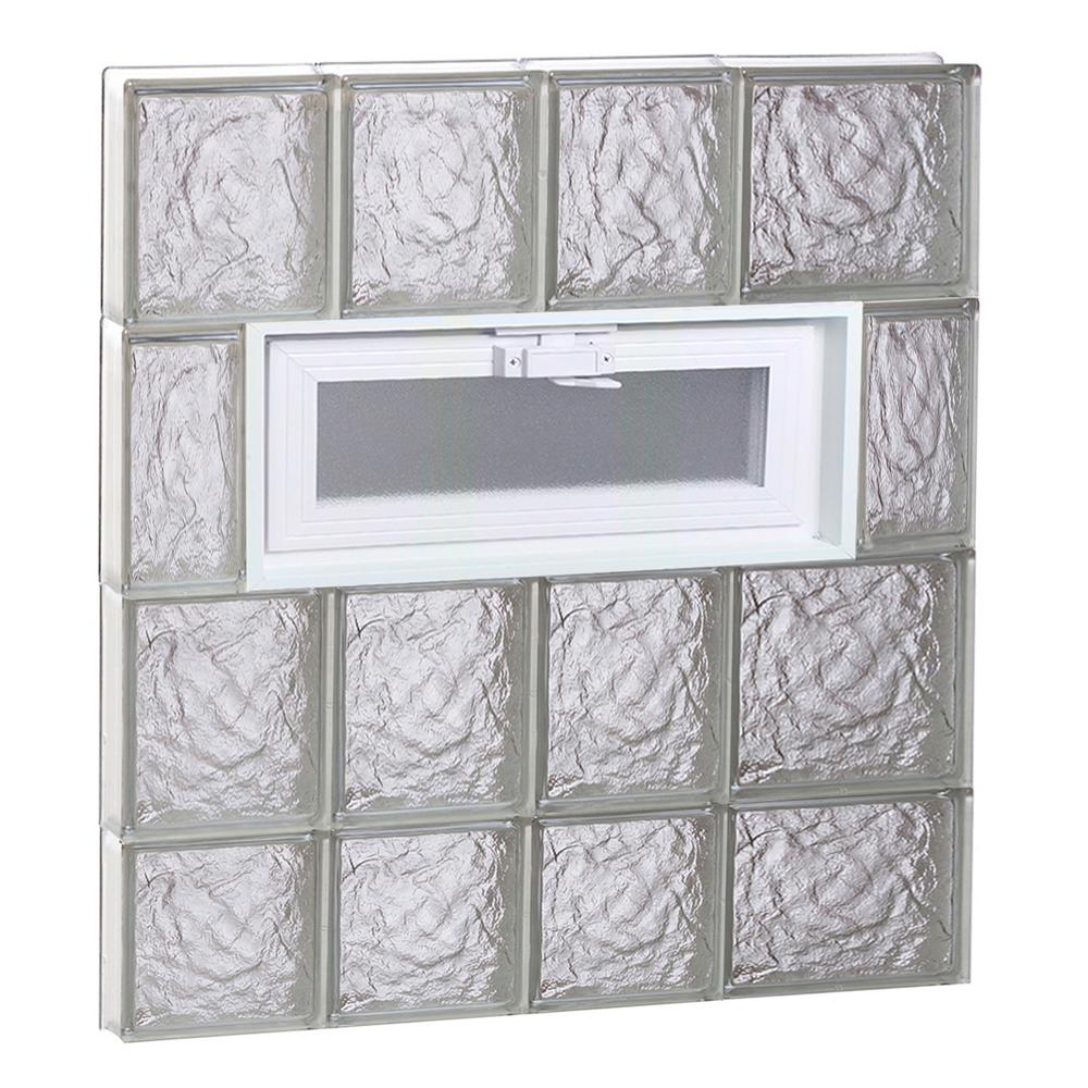 Clearly Secure 25 in. x 29 in. x 3.125 in. Frameless Ice Pattern Vented Glass Block Window