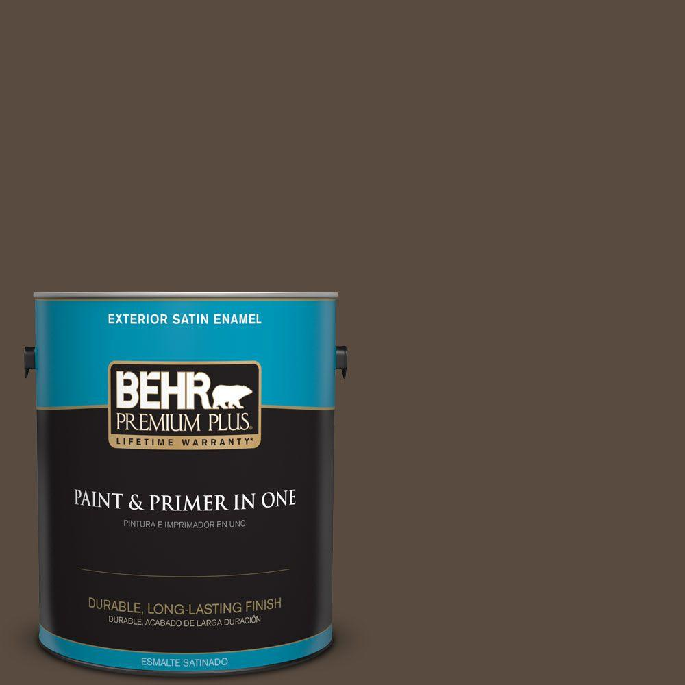 1 gal. #HDC-FL15-05 Warm Pumpernickel Satin Enamel Exterior Paint