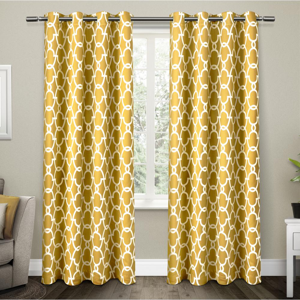 Mustard Yellow Kitchen Curtains: Gates Sundress Yellow Sateen Blackout Thermal Grommet Top