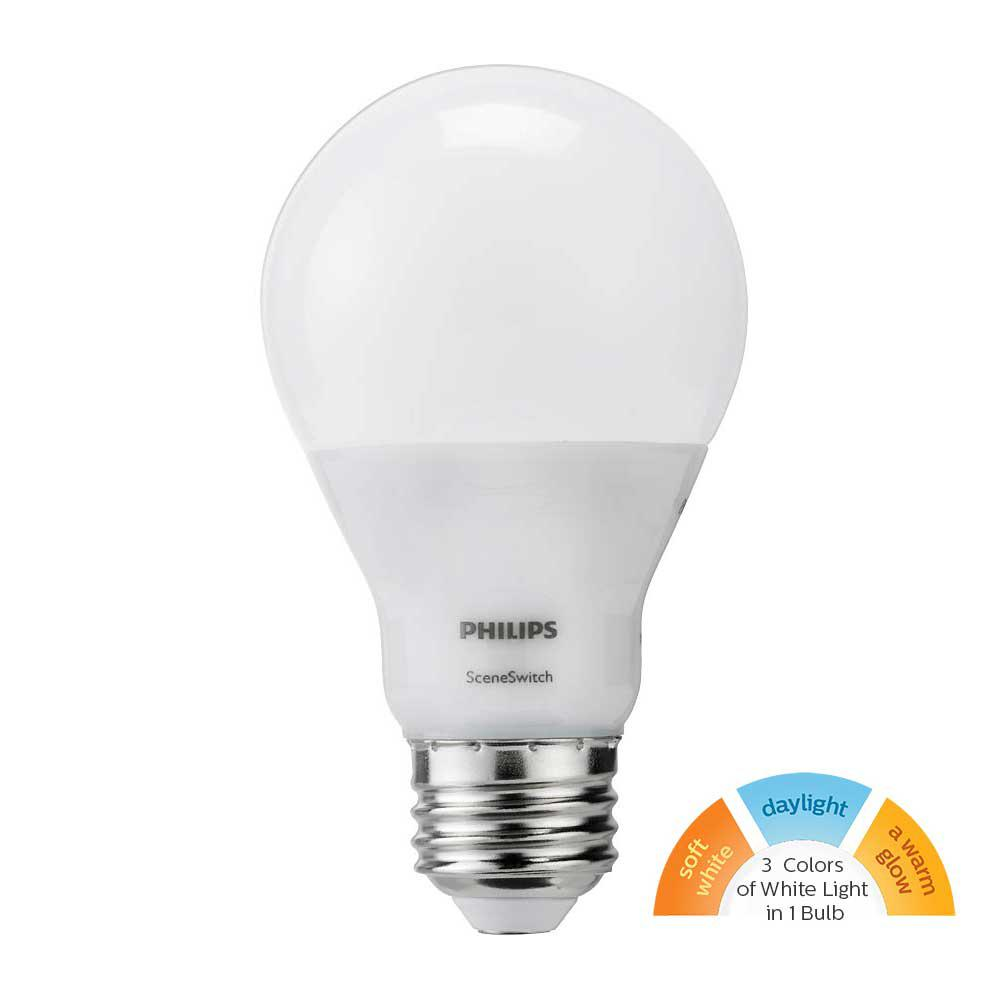 Philips 60W Equivalent Daylight/Soft White/Warm Glow SceneSwitch A19 LED Light Bulb