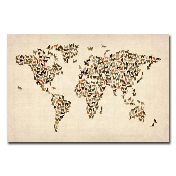 30 in. x 47 in. World Map of Cats Canvas Wall