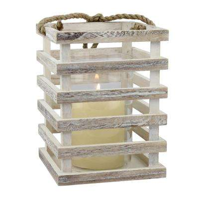8 in. H x 6 in. D Weathered Wood White Lantern