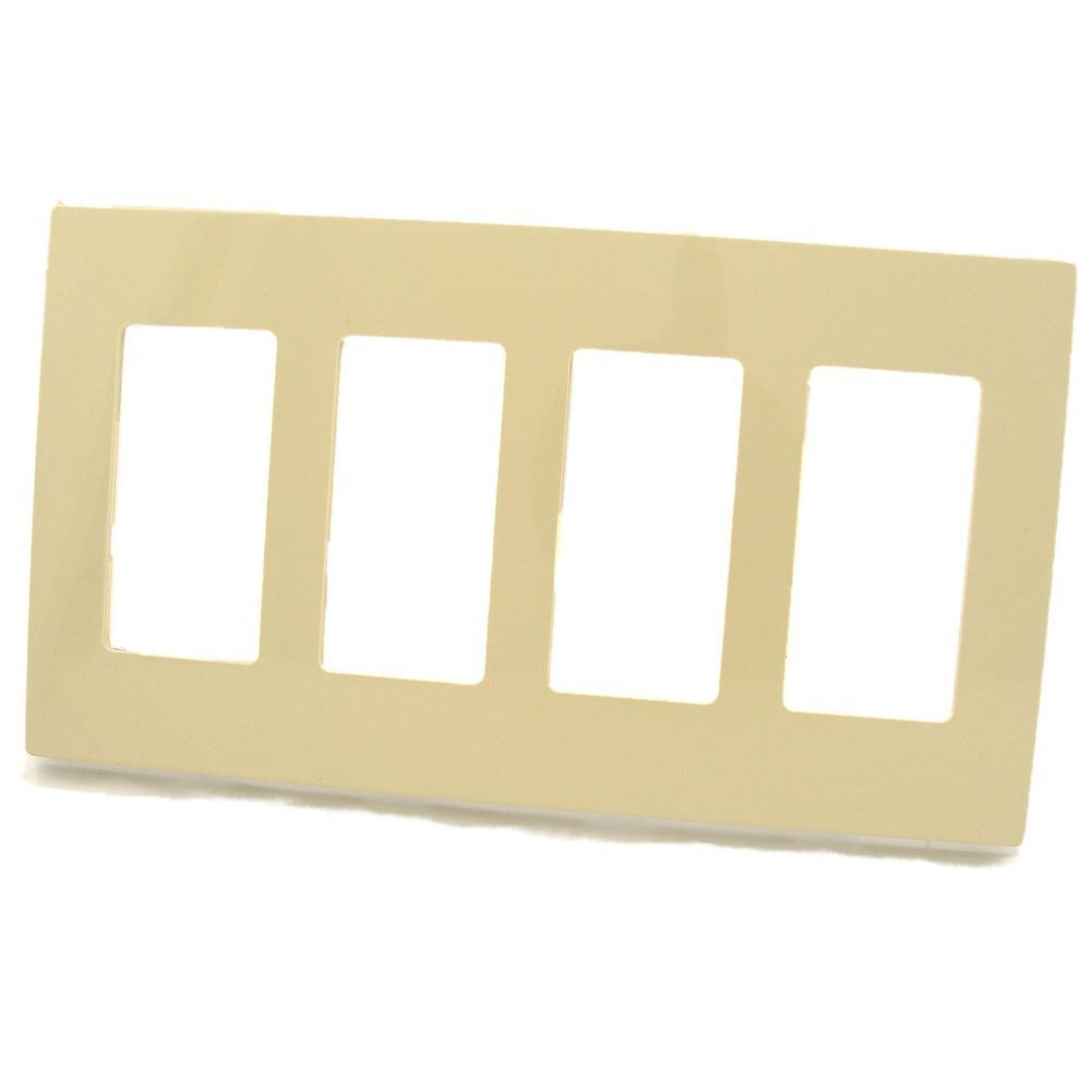 Leviton 4 Gang Decora Screwless Wall Plate Ivory 80312 Si