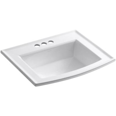 Archer Drop-In Vitreous China Bathroom Sink with Overflow Drain in White