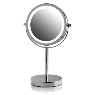 LED Lighted Tabletop Mirror, Cordless, Battery Operated, LED Lights, Polished Chrome with 1x or 7x Magnification