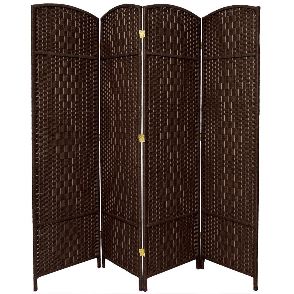 6 ft. Dark Mocha 4-Panel Room Divider