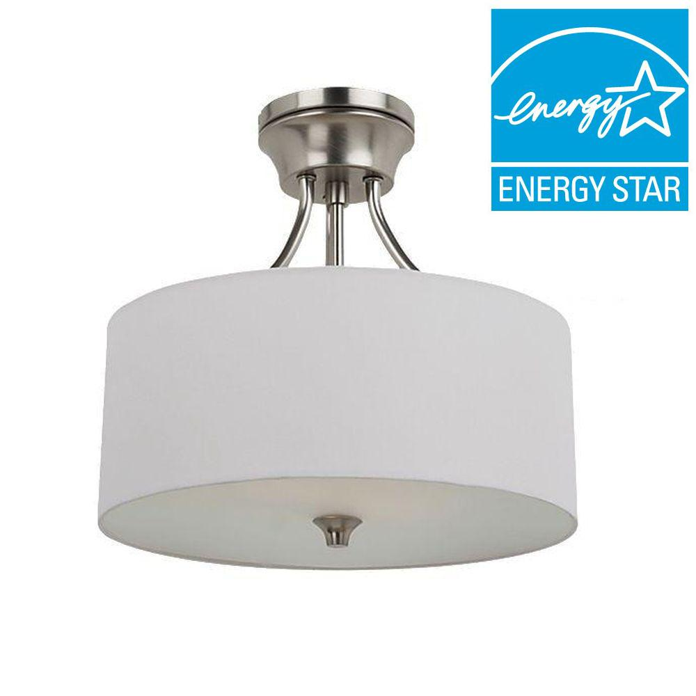 Sea Gull Lighting Stirling 2-Light Brushed Nickel Fluorescent Semi-Flush Mount Convertible Pendant with White Linen Shade