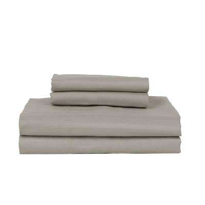 Stone 380-Thread Count Cotton Rich Stripe Sateen King Sheet Set