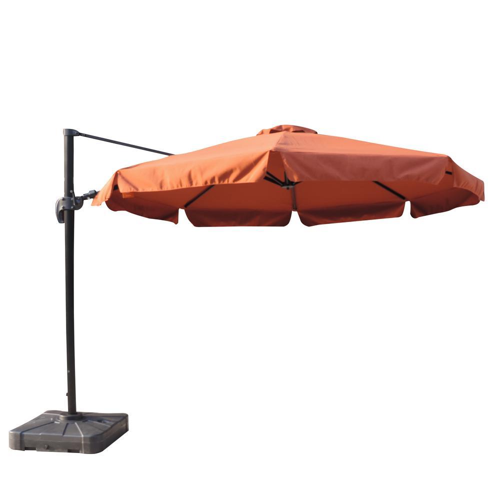 island umbrella freeport 11 ft  octagon cantilever with valance patio umbrella in terra cotta