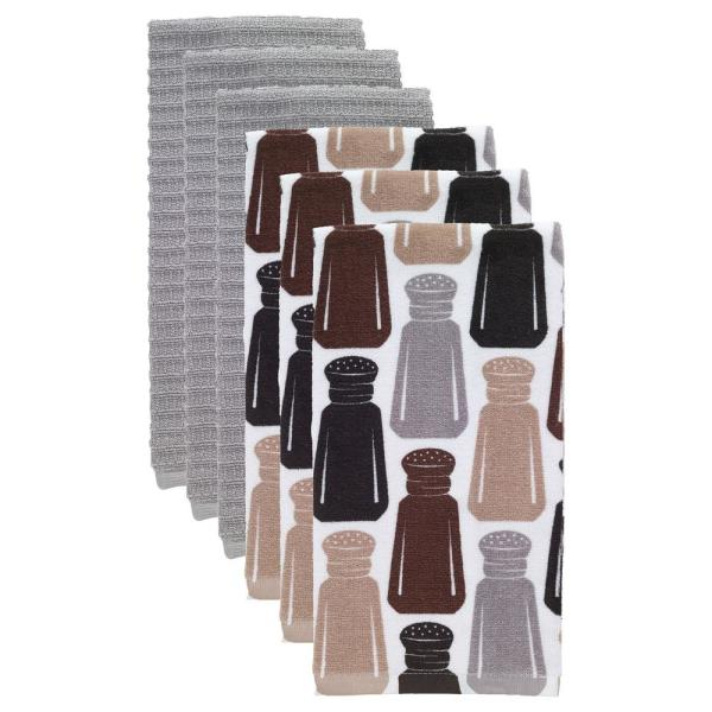 T-fal Salt and Pepper Multicolor Cotton Fiber Reactive Print and Solid Kitchen Dish Towel (Set of 6)