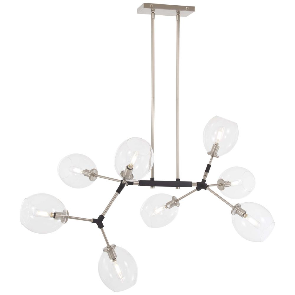 George Kovacs Nexpo 8-Light Brushed Nickel Chandelier with Clear Glass Shade
