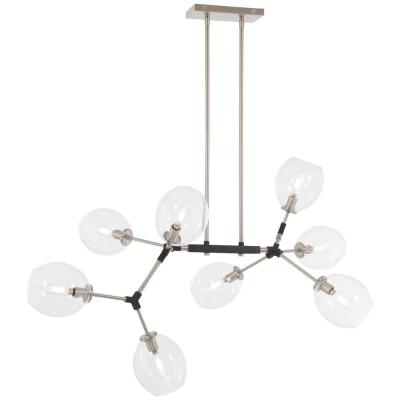 Nexpo 8-Light Brushed Nickel Chandelier with Clear Glass Shade