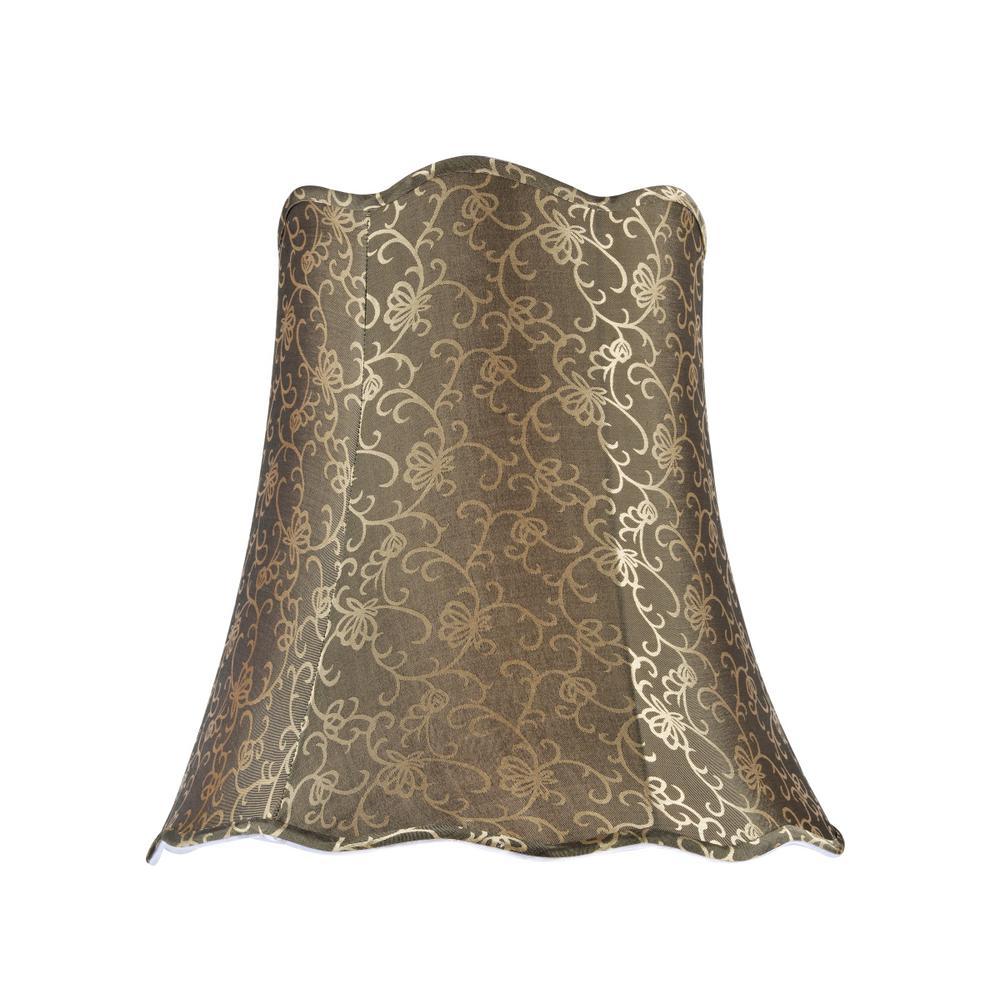 d2c5a0e2e1bc Aspen Creative Corporation 16 in. x 15 in. Light Gold Scallop Bell Lamp  Shade
