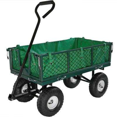Green Steel Utility Cart with Folding Sides and Liner