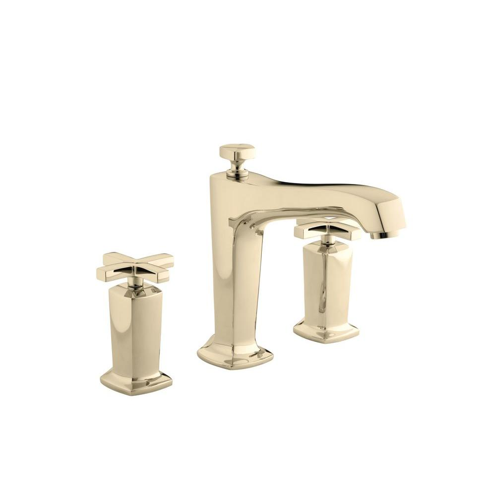 KOHLER Margaux Deck-Mount High-Flow Bath Faucet Trim with Cross Handles in Vibrant French Gold (Valve Not Included)