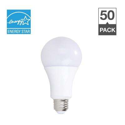 100W Equivalent Soft White 2700K A19 Energy Star and Dimmable 25,000-Hour LED Light Bulb (50-Pack)