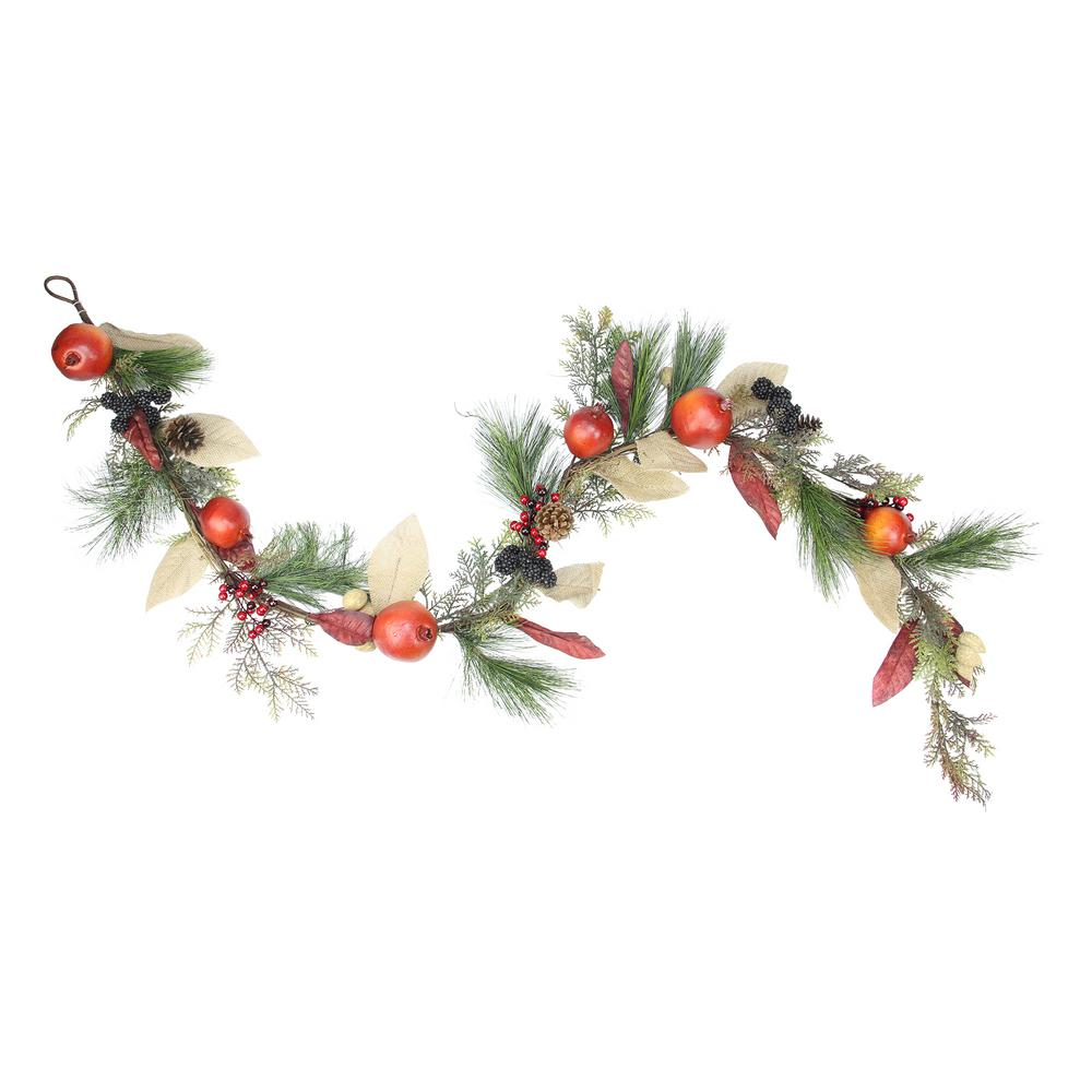 Northlight 6 ft. x 10 in. Unlit Autumn Harvest Mixed Pine Berry and Nut Thanksgiving Fall Garland