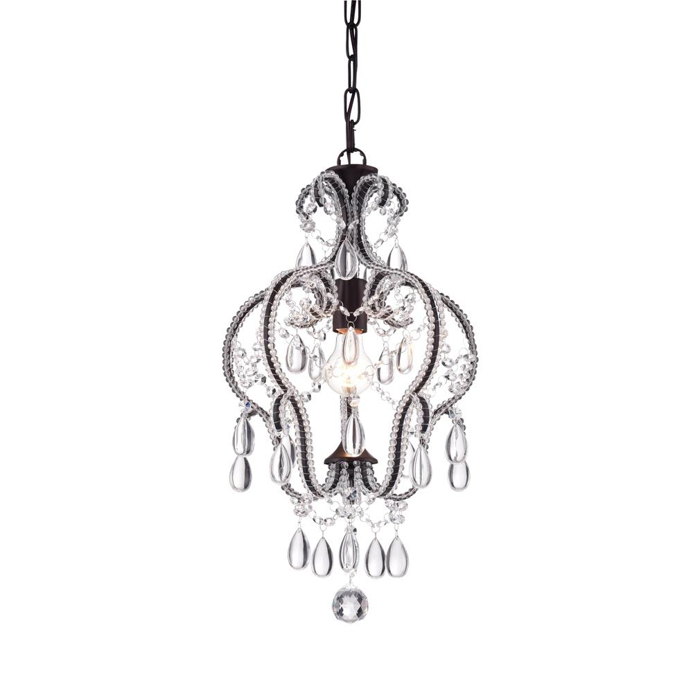 Warehouse of Tiffany 1-Light Bronze Calilly Chandelier with Antique Bronze Shade