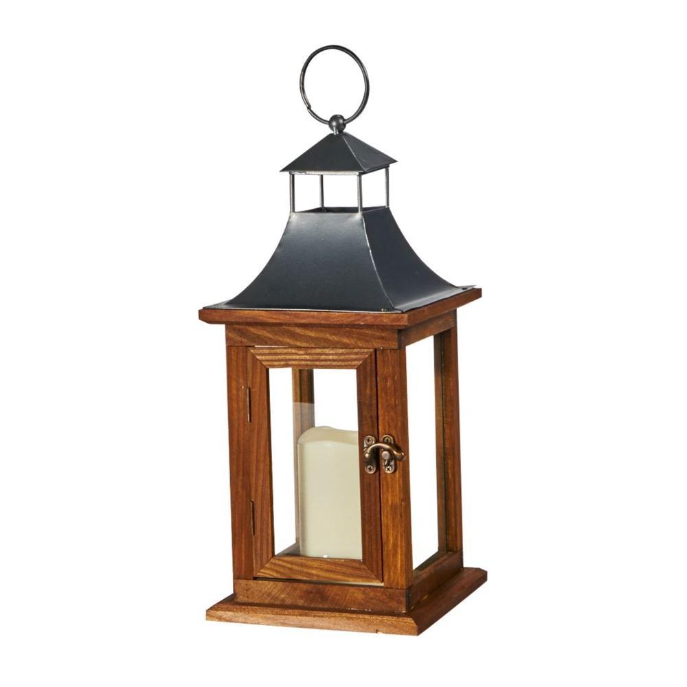 Smart Design Portland 14 in. LED Candle Wooden Lantern