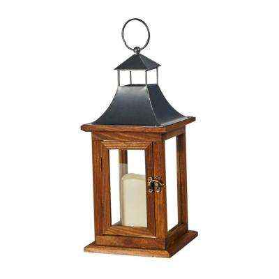 Portland 14 in. LED Candle Wooden Lantern