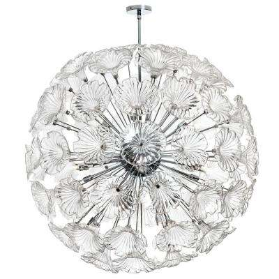 Frangipani 20-Light Polished Chrome Chandelier with Clear Glass