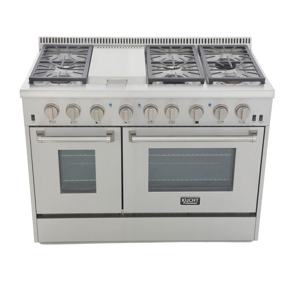 Kucht Pro-Style 48 in. 6.7 cu. ft. Natural Gas Range with Sealed Burners, Griddle and Convection Oven in Stainless Steel