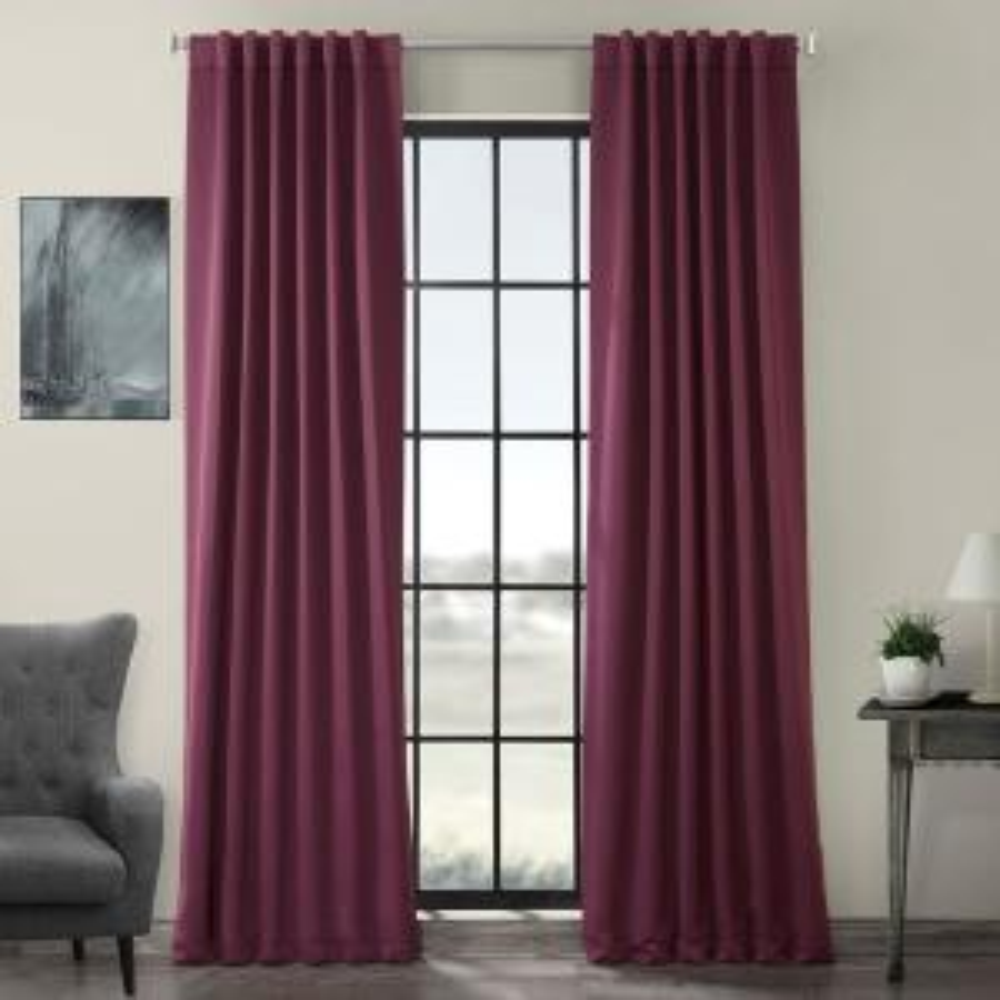 Semi-Opaque Aubergine Purple Blackout Curtain - 50 in. W x 108 in. L (Panel)