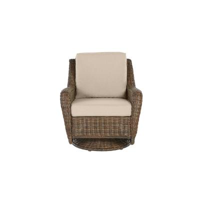 Cambridge Brown Wicker Outdoor Patio Swivel Rocking Chair with Sunbrella Beige Tan Cushions