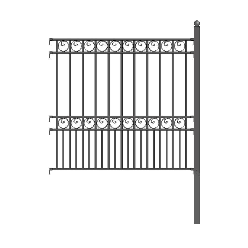 Paris Style 5 ft. x 5.5 ft. Black Iron DIY Fence Panel