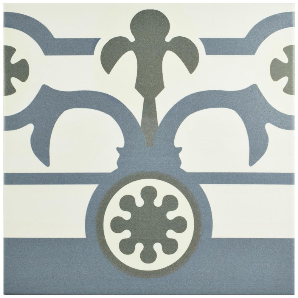 Hidraulico Ducados Cenefa Encaustic 9-3/4 in. x 9-3/4 in. Porcelain Floor