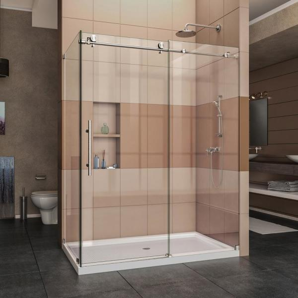 Enigma-X 34 1/2 in. D x 60.375 in. x 76 in. Frameless Corner Sliding Shower Enclosure in Brushed Stainless Steel