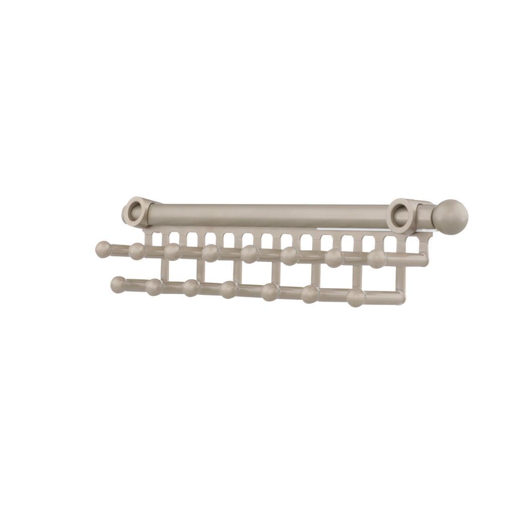 2.5 in. H x 2 in. W x 14 in. D Satin Nickel Pull-Out 9-Hook Tie/Scarf Rack