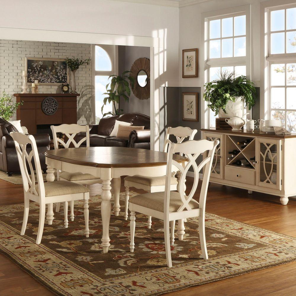 HomeSullivan Rosemont 5-Piece Antique White Dining Set ...