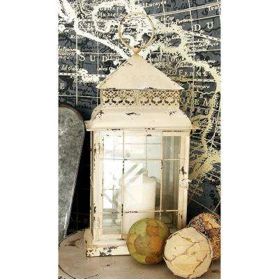 22 in. White Iron and Glass Windowpane Candle Lantern