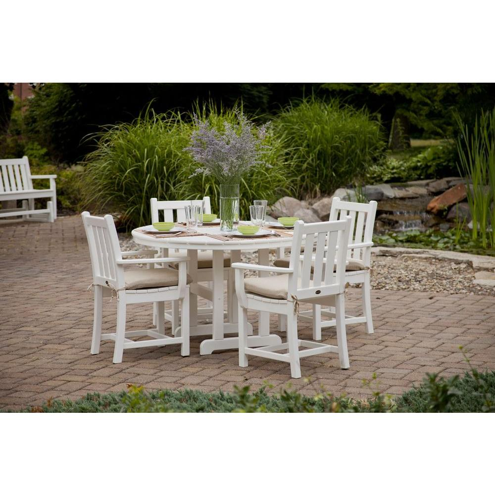 polywood traditional garden white 5 piece plastic outdoor patio dining set - Garden Furniture Traditional