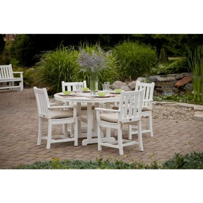 Traditional Garden White 5-Piece Plastic Outdoor Patio Dining Set