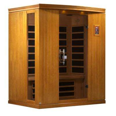 Tru Heat Upgraded 3 Person Far Infrared Sauna with 9 Carbon Tech Heaters, MP3, Light and Dual Controls