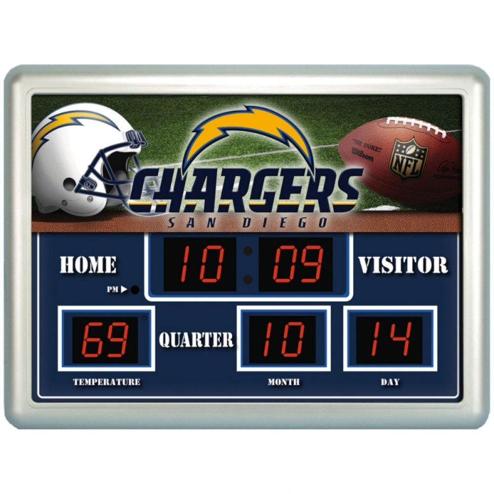 null San Diego Chargers 14 in. x 19 in. Scoreboard Clock with Temperature