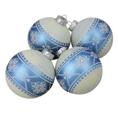 4 in. (100 mm) 4-Piece Set of Silver Glitter Nordic Patterned Glass Ball Christmas Ornaments