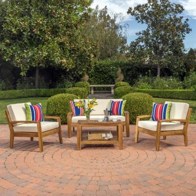 Grenada Teak 4-Piece Wood Patio Conversation Set with Beige Cushions