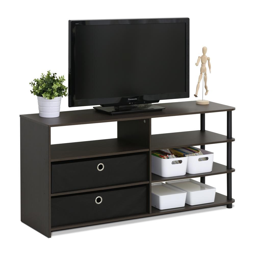 Furinno Jaya Walnut Simple Design TV Stand15078WNBK The Home Depot