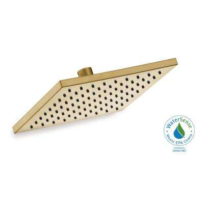 Modern 1-Spray 8 in. Square Raincan Fixed Showerhead in Matte Gold