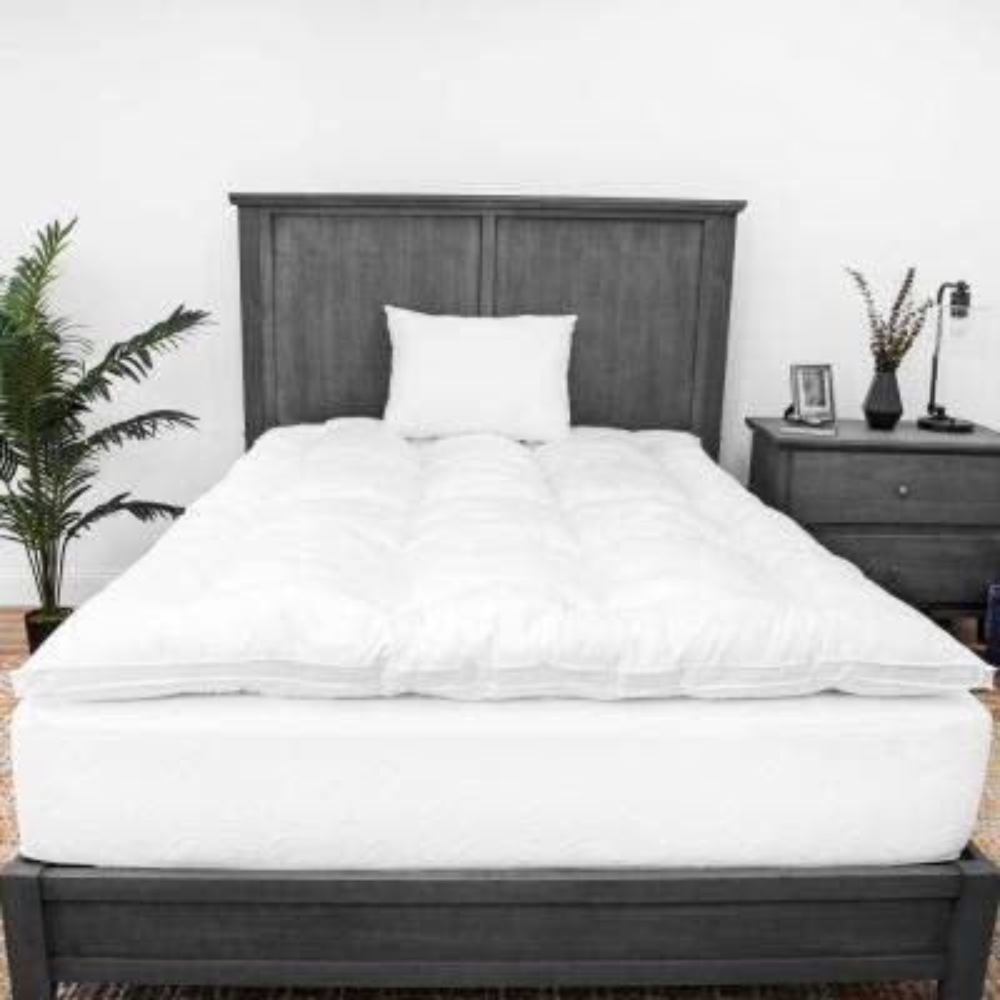 2 in. King Down Alternative Fiber Mattress Topper and Two Fiber Pillows Bundle