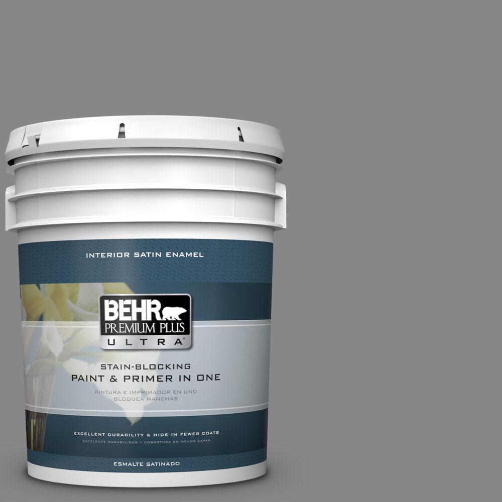 5 gal. #PPU26-04 Falcon Gray Satin Enamel Interior Paint