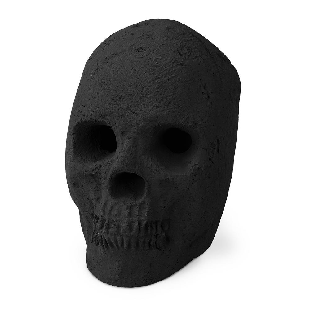 Black Ceramic Fireproof Decoration Skull for Fire Pits and Fireplaces
