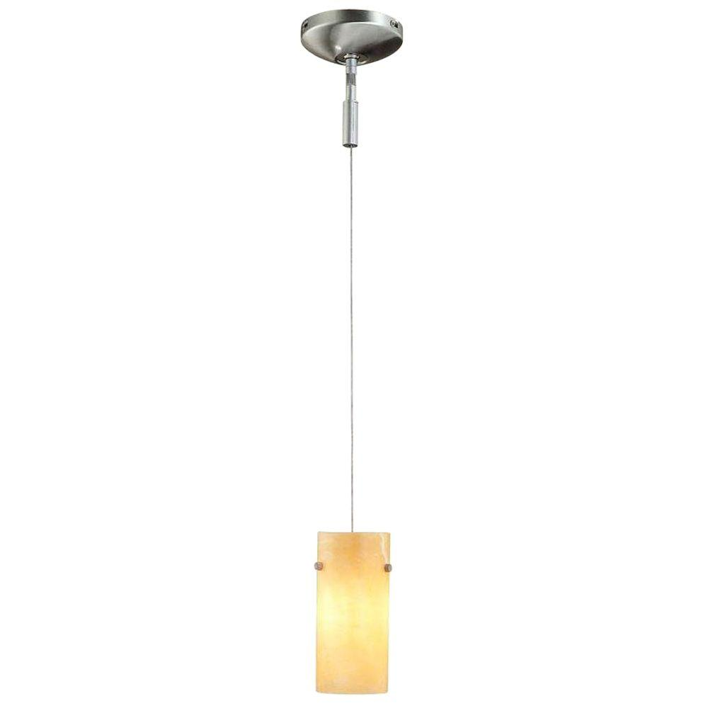 1 Light Brushed Steel Track Lighting Pendant Fixture