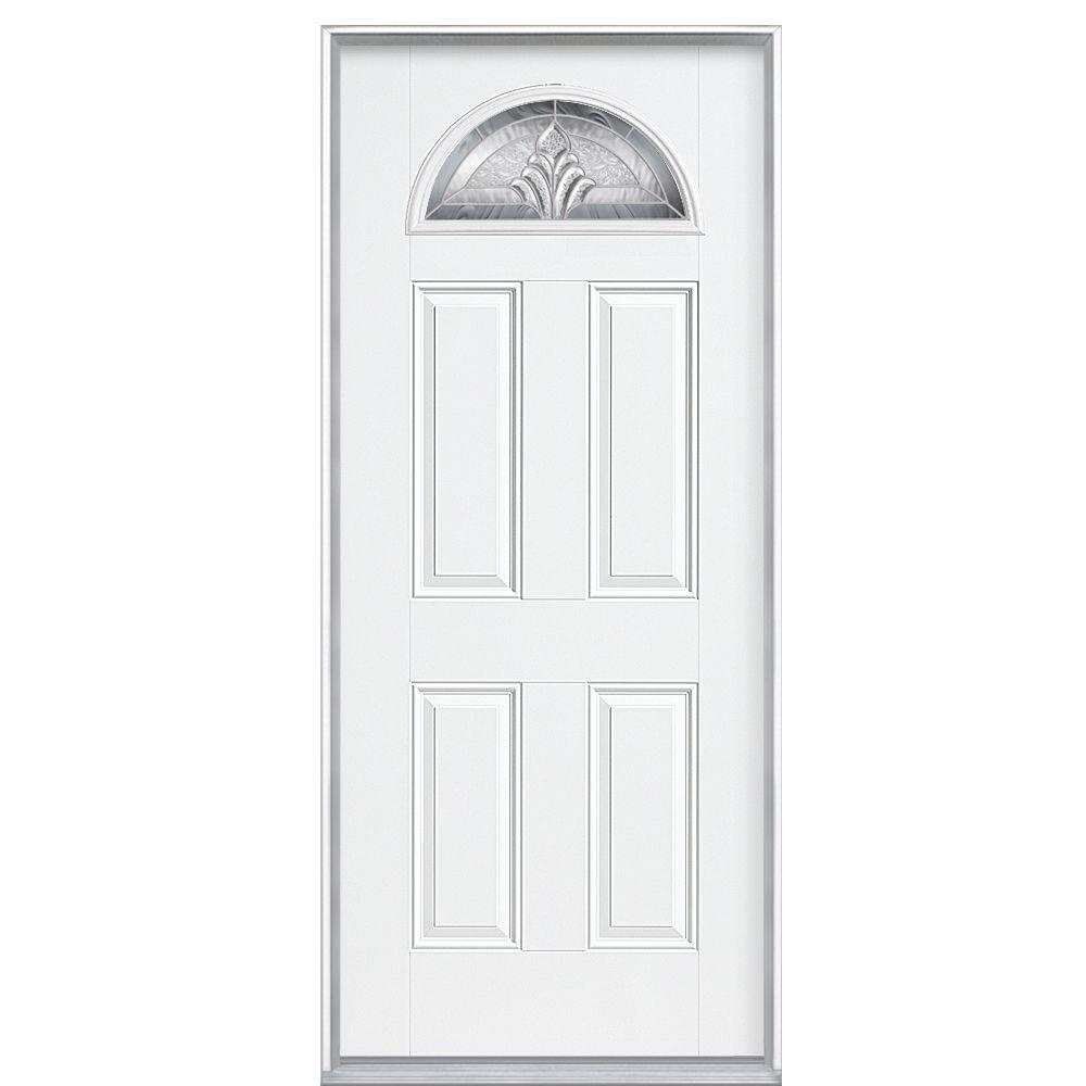 Masonite 36 in. x 80 in. Providence Left-Hand Inswing Fan Lite Primed Smooth Fiberglass Prehung Front Door No Brickmold