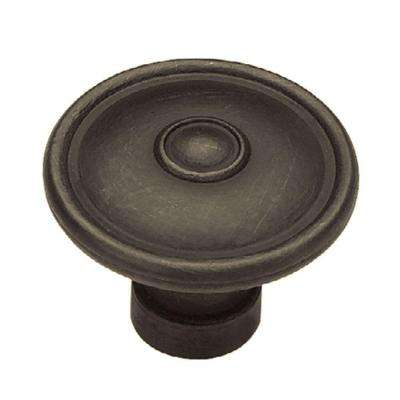 Rustique 1-1/2 in. (38mm) Distressed Oil Rubbed Bronze Ringed Cabinet Knob